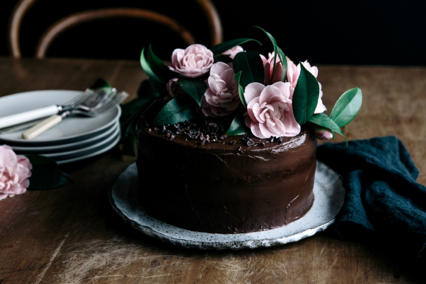Fresh Flower Chocolate Cake