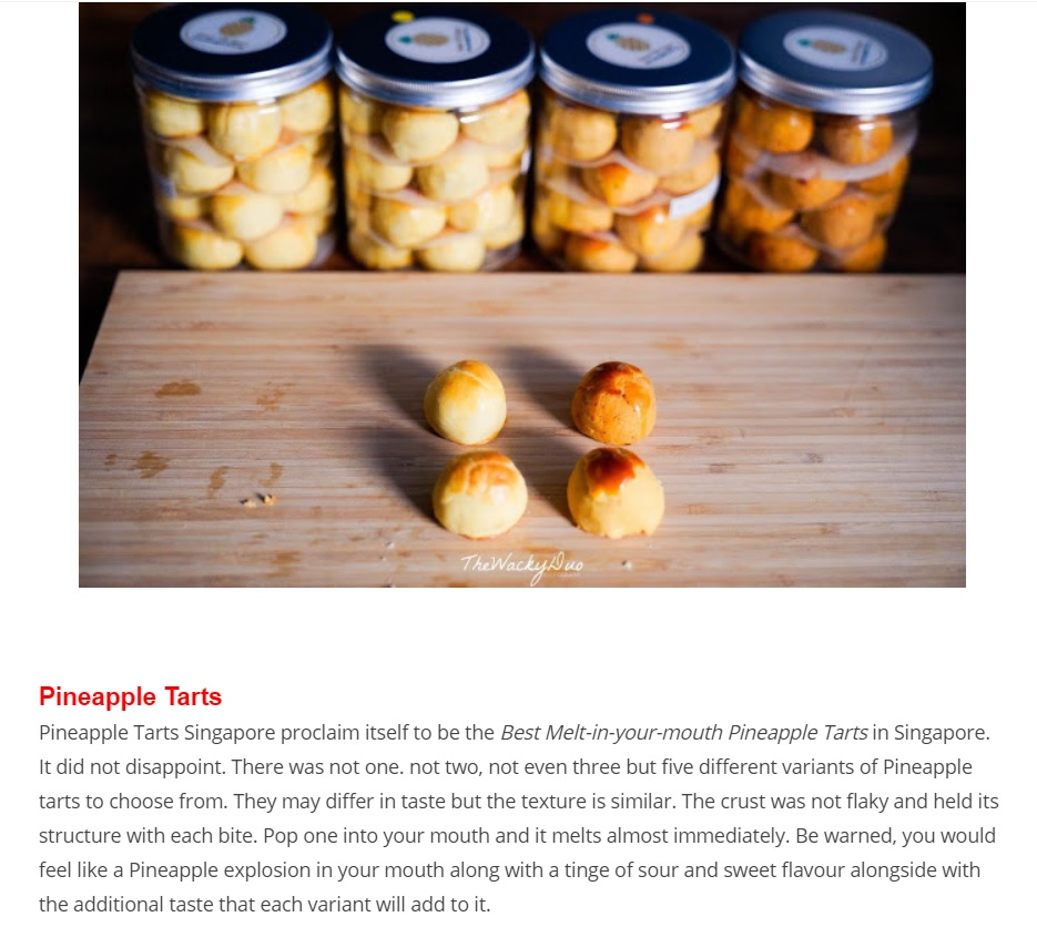 Pineapple Tarts Singapore Review by The Wacky Duo