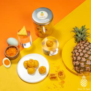 Salted Egg Yolk Pineapple Tarts Top View